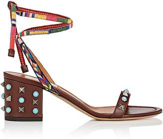 Valentino Women's Rockstud Rolling Leather Ankle-Tie Sandals $895 thestylecure.com