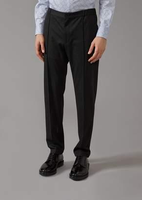 Giorgio Armani Plain Jersey Trousers With Central Rib