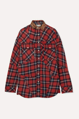 R 13 Oversized Leopard-print Canvas-trimmed Checked Cotton-flannel Shirt - Red