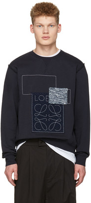 Loewe Indigo Anagram Patches Pullover $490 thestylecure.com