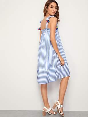 Shein Striped Print Pompom Detail Knotted Strap Dress