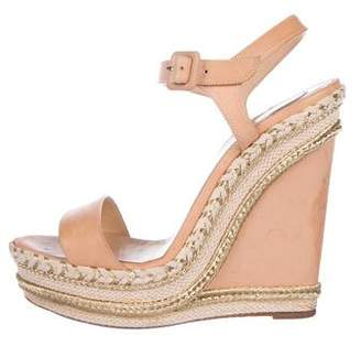 Christian Louboutin Leather Wedge Sandals