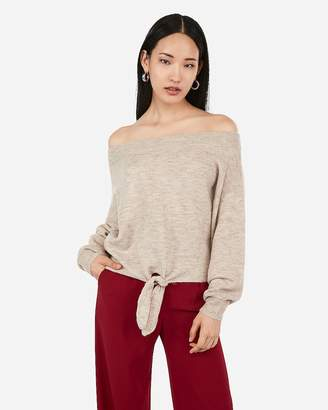 Express Tie Front Off The Shoulder Pullover Sweater