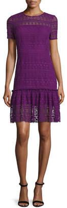 Elie Tahari Jacey Lace Short-Sleeve Dress, Garnet $398 thestylecure.com