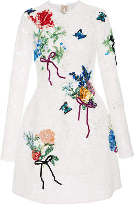 Monique Lhuillier Embroidered Long Sleeve Lace Dress