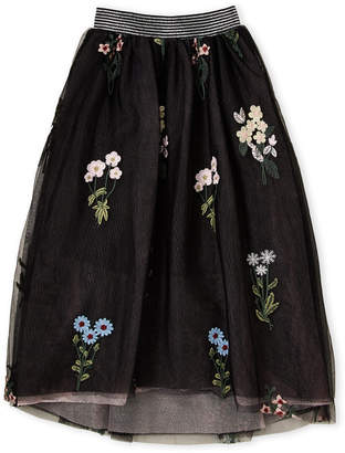 Hannah Banana Girls 7-16) Floral Embroidered Hi-Low Skirt