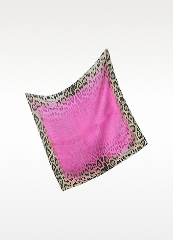 Roberto Cavalli Pink Leopard Silk Square Scarf