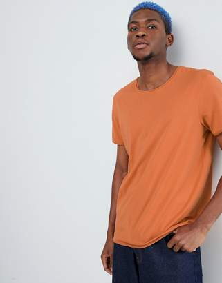 Weekday dark raw edge t-shirt burnt orange