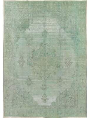 "Bloomsbury Market One-of-a-Kind Worthington Over-Dyed Distressed Hand-Knotted 7'8"" x 11'1"" Wool Green Area Rug Bloomsbury Market"