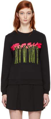 Versus Black Fringed Logo Sweatshirt