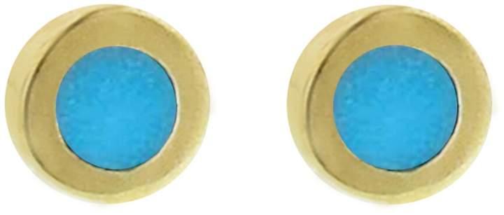 Jennifer Meyer Mini Turquoise Inlay Circle Stud Earrings