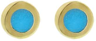 Jennifer Meyer Mini Turquoise Inlay Circle Stud Earrings
