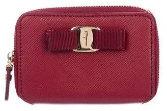 Salvatore Ferragamo Leather Vera Compact Zip Wallet