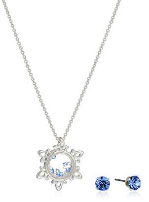 Disney Women's Plated Crystal Frozen Earring & Snowflake Pendant Necklace Jewelry Set