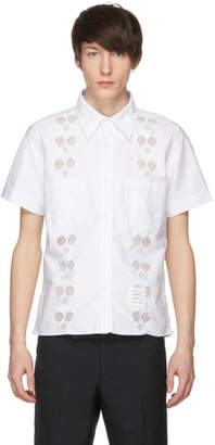 Thom Browne White Flat Front Cuban Shirt