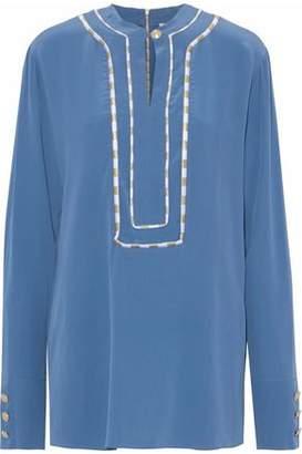 Pierre Balmain Embroidered Washed-Silk Shirt