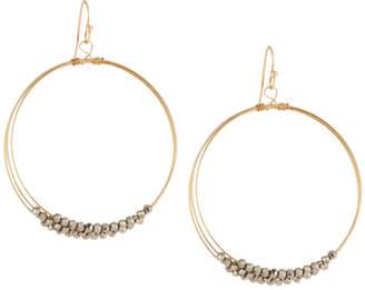 Panacea Multilayer Hematite Crystal Hoop Earrings