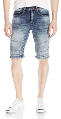 Buffalo David Bitton Men's Parker Slim Fit Fashion Knitted Denim Moto Short