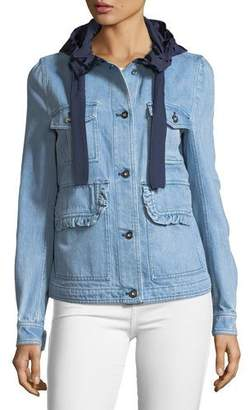 Moncler Resinite Button-Front Denim & Nylon Jacket