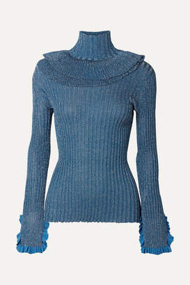 Chloé Ruffled Metallic Ribbed-knit Silk-blend Turtleneck Sweater - Blue