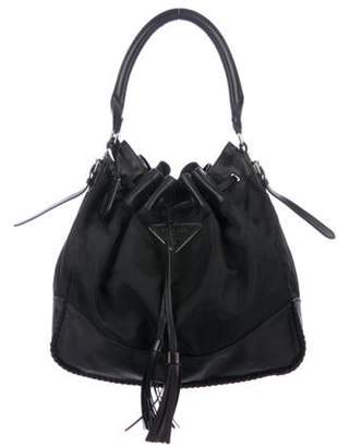 Prada Leather-Trimmed Tessuto Hobo Black Leather-Trimmed Tessuto Hobo