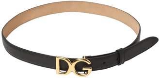 Dolce & Gabbana 25mm Logo Dauphine Leather Belt