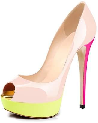 Joogo Women Peep Toe Pumps Platform Thin Heel Stiletto Sandals Wedding High Heels Slip On Dress Shoes Size 14