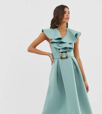 Asos Design DESIGN ruffle front midi prom dress with tortoise belt