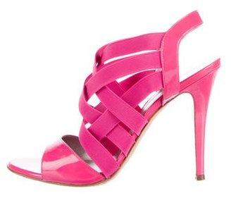Casadei Patent Leather Strappy Sandals $125 thestylecure.com