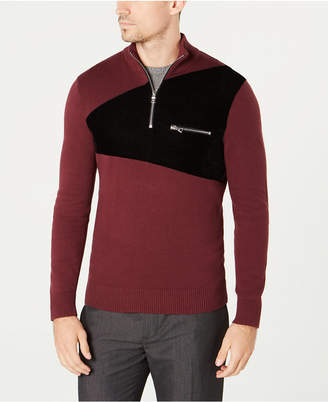INC International Concepts I.n.c. Men's Rebel Varsity Quarter-Zip Sweater