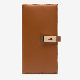 Bally Amy Brown, Women's plain calf leather slim wallet in tan