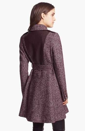 Via Spiga Double Breasted Tweed & Faux Leather Coat (Online Only)