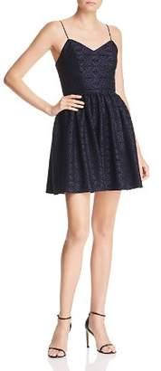 Aqua Flocked Damask Print Dress - 100% Exclusive