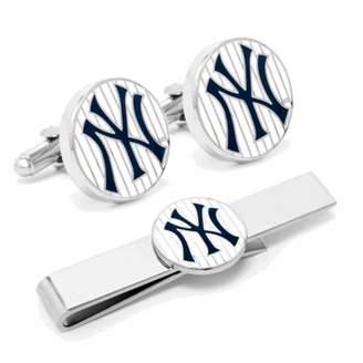 New York Yankees Pinstripe Cufflinks and Tie Bar Gift Set MLB