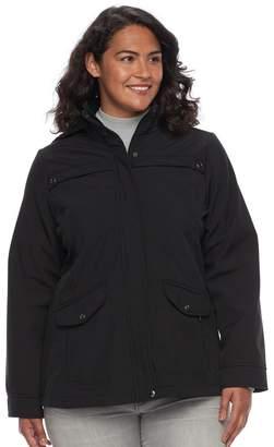 Plus Size Weathercast Hooded Soft Shell Rain Jacket