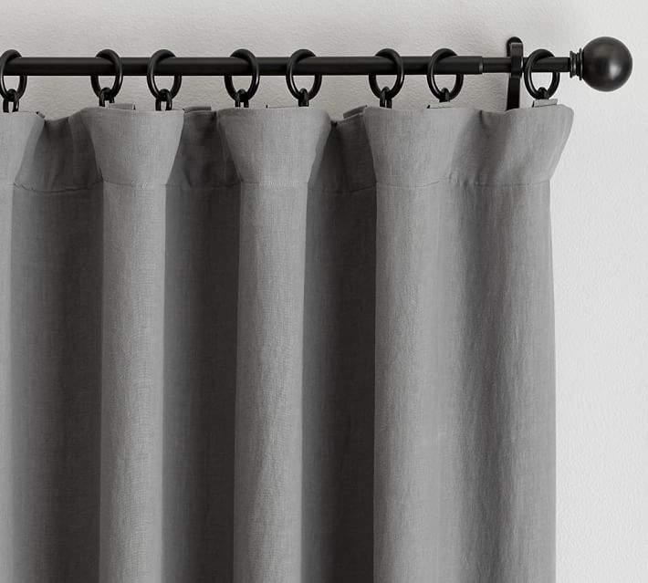 Classic Belgian Flax Linen Drape - Flagstone