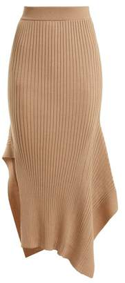 Stella McCartney Asymmetric Ribbed Knit Skirt - Womens - Beige