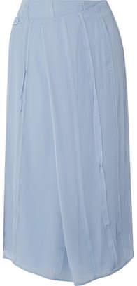 Carven Pleated Silk-chiffon Wrap Midi Skirt - Sky blue