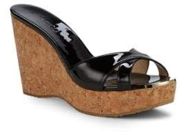 Jimmy Choo Patent Leather Cork Wedge Sandals