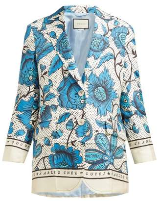 a2af1b0766460c Gucci Floral Print Single Breasted Silk Twill Blazer - Womens - Blue Multi