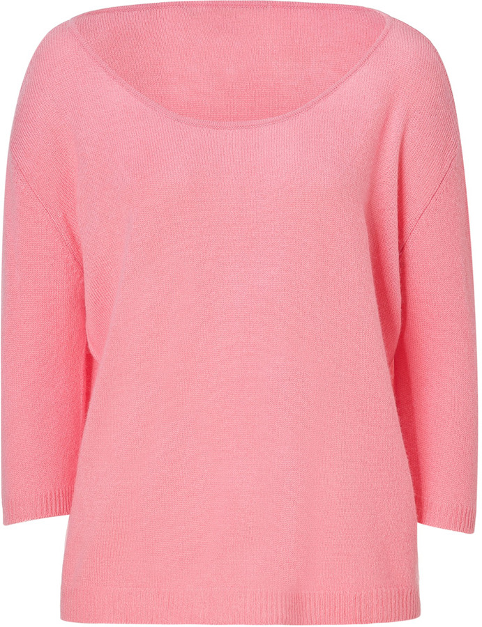 Dear Cashmere Poppy Rose Cashmere Wide Neck Pullover