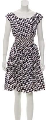 Prada Geometric Printed Mini Dress White Geometric Printed Mini Dress