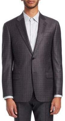 Emporio Armani G-Line Mini Check-Print Wool Suit Jacket