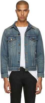 Saint Laurent Blue Denim Destroyed Jacket $1,350 thestylecure.com