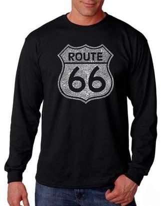 Pop Culture Los Angeles Pop Art Big Men's Long Sleeve T-Shirt - Cities Along The Legendary Route 66