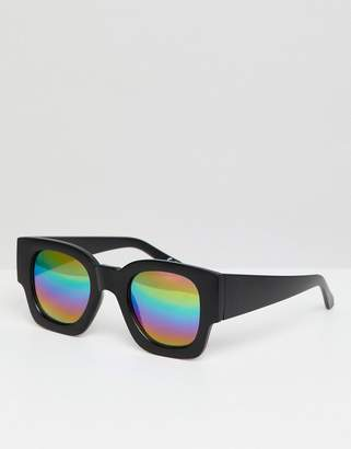 Asos Design DESIGN Square Sunglasses In Black With Mirrored Rainbow Lens