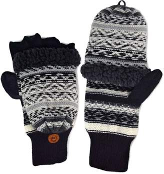 Muk Luks Fairisle Textured Convertible Mittens - Men