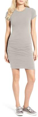 James Perse Ruched Stretch Cotton Dress
