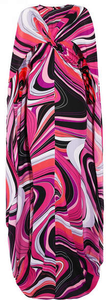Emilio Pucci - Cape-effect Printed Silk Gown - Pink