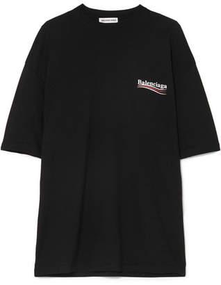 Balenciaga - Printed Cotton-jersey T-shirt - Black
